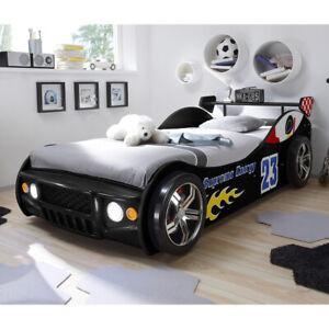 Autobett Energy Jugendbett Kinderbett Rennwagen schwarz lackiert mit LED