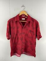 Natural Issue Men's Vintage Short Sleeve Soft Touch Hawaiian Shirt Size L Red
