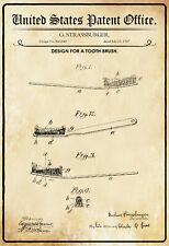 US Patent Zahnbürste 1907 Blechschild Schild gewölbt Tin Sign 20 x 30 cm P0318