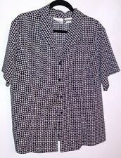 KATHIE LEE WOMAN 18/20W Black & White Basket Weave Print Blouse NEW w/o TAGS