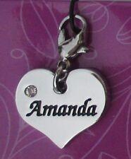 dd Amanda HEART NAME CHARM for bracelet CHERISH CHARMS lobster closure jewelry