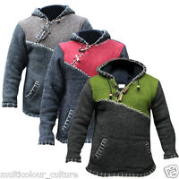 Fleece Lined Cross Zipped Men's Jumper Festival Boho Hippie Pullover Hoodiies