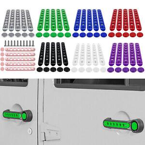 5Pcs Door Grab Handle Cover + Push Button Knobs Trim for 07-18 Jeep Wrangler JK