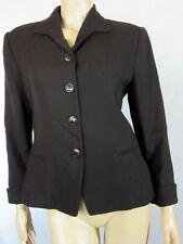 GEORGIOU STUDIO Dark Brown Chic Tailored Career Worsted Wool Jacket blazer 8