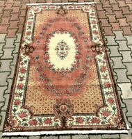 Turkish Handmade Floral Design Carpet Anatolian Hand Knotted Vintage Rug 4x7 ft.