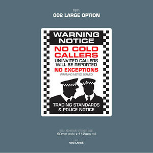 SKU002L - No Cold Callers - Front Door Letter Box Sign / Sticker - 90mm x 112mm