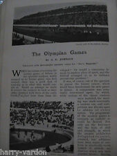 Olympic Games Athletics Wrestling Fencing Cycling Tennis Rare Old Article 1906