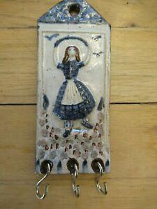 Handmade Ceramic Wall-Mount 3-Key Holder - Girl Jumping Rope in Flowers - FRANCE