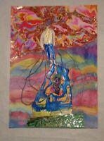 Collage dessin peinture décoration art unique original signé danseur somnambule
