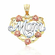 "Gold ""Mom"" Heart of Roses Charm, 10k Solid Gold, Charm America Jewelry"