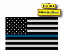 (2) Subdued American Flags with THIN BLUE LINE Support Police Decal/Sticker TB2