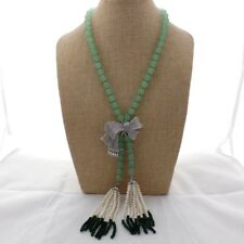 Bowknot CZ connector  Jade White freshwater Pearl Aventurine  21'' Necklace