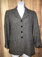 PENDLETON Women's Tweed Blazer Jacket SIZE 8 Gray Black White Four Button Front