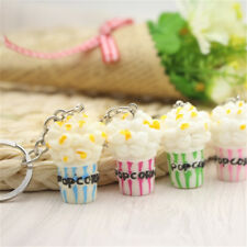 New Lovely Cute Women Girl Colorful Popcorn Shaped Key Chain Key Ring Gifts