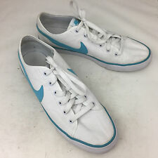 "NIKE ""Primo Court"" White Canvas/Blue Swoosh Tennis Shoes Sneakers Size 9 MINT!"