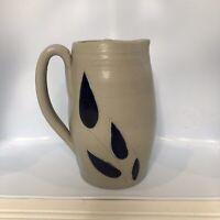 Williamsburg Pottery Cream Pitcher Gray Blue Leaf Pattern