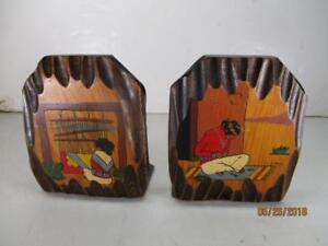 Pair of Primitive Folk Art Wood Slabs Bookends Signed 'LOKA'
