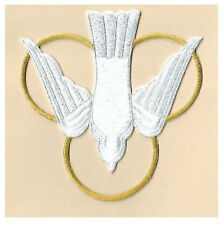 Dove -Trinity - Holy Spirit - Vestment - Embroidered Iron On Patch - White