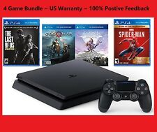 Sony PlayStation4 PS4 1TB Console+4 Games Bundle Spider Man/GOW/Horizon/LastofUs