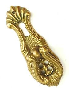 """Single Vintage Brass Drawer Pull Hardware Floral flower Ornate 3"""" Skeleton Key"""