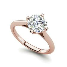Cut Diamond Engagement Ring Rose Gold 4 claw Solitaire 1 Carat Si1/D Round