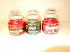 Yankee Candle 3 Small NEW 3.7 Oz. Candles Red Apple Mistletoe Cranberry Pepmint