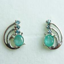 1.3ctsNatural Emerald & Zircon 925 Silver 9ct 14k 18k Gold stud earrings
