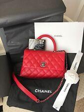 New CHANEL Coco Handle Red Caviar Mini Kelly Purse Handbag Flag Bag