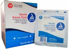 "Dynarex Sterile Gauze Pads 3"" X 3"" 12-Ply Single Wound Care #3353 100 Bandages"