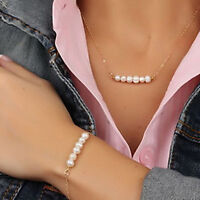 Women Simple Pearls Pendant Gold Chain Choker Chunky Necklace + Bracelet Set