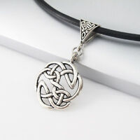 Vintage Silver Alloy Round Knot Celtic Pendant 3mm Black Leather Tribal Necklace