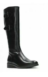 Clarks Ladies Knee-High Boots TAMRO SPICE BLACK Leather UK Size 3 D EU 35.5