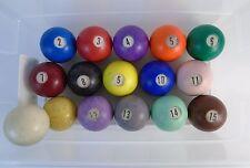 "VINTAGE - 2 1/8"" DIAMETER SWIRL COLORED SUNKEN NUMBER BILLIARD POOL BALLS 1970s?"