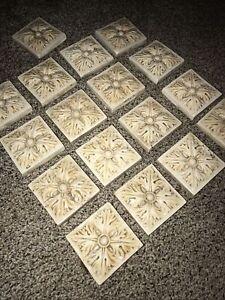 17 2 X 2 Inch Squared Flower Leaf Beige Backsplash Tiles Craft Rock Stamped Tan