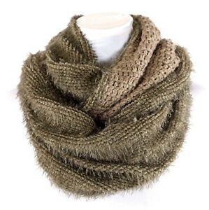 Eternity Reversable Dual Side Beige Olive Fluffy Super Soft Infinity Scarf B18