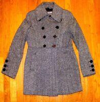 GUESS Tweed Herringbone WOOL Lined Jacket Coat Salt speckle Black White EUC M