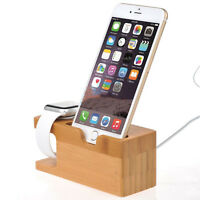 Bamboo Charging Dock Station Charger Holder Stand for  Watch iWatch iPhone