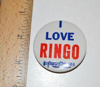 """1964 Beatles 2"""" Inch Pin Back Button I LOVE RINGO Made In USA Memorabilia"""