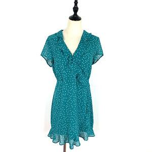 BNWT Bardot Size 14 Aqua Green Wrap Style Dress Short Sleeve Ruffle Dots Spots