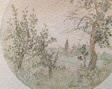 Noriko Ogawa: Landschaft - Schönes Aquarell der Japanerin, signiert, 1980