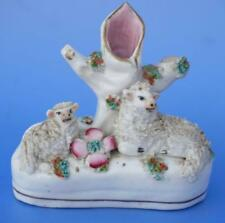 Antique Staffordshire Pottery Sheep and Lamb Figure Small Spill Vase