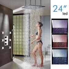 "Thermostatic 24"" LED Rain Shower Head 6 Body Massage Spray Jet Hand Shower Set"