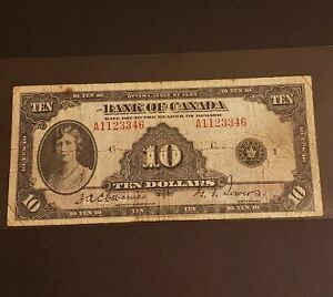 1935 Canada $10 Banknote. English Version.