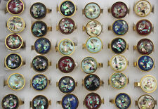 50pcs Women/Men's Jewelry Wholesale Mixed Style Resin Stainless Steel Ring EH601