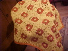 "Brand New Hand Crochet Two Tone Orange & Golden Yellow Afghan/Throw 41""x 32"""