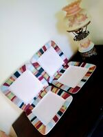 """Tabletops Lifestyles Jentry Square Dinner Plates Set Of 4 Hand Crafted 11"""""""