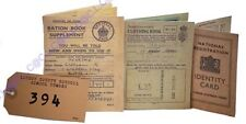 WW2 Wartime 1940s Memorabilia Number Tag-Ration Book-Clothing Book & ID Card Set