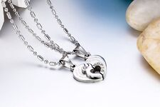 Stainless Steel Couple Heart Love Promise Pendant Necklaces with Date 2pcs