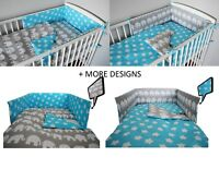 BLUE  ELEPHANT Baby Bedding Set fit Cot 120x60cm or Cot Bed 140x70+MORE DESIGNS