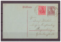 Deutsches Reich, Ganzsache P 109 + ZuF Rottweil nach Regensburg 29.08.1919
